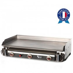 Plancha gas Tonio Trio 3 lights all stainless steel housing and stainless steel plate