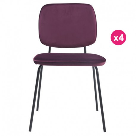 Set of 4 chairs in Velvet purple Lide KosyForm meals