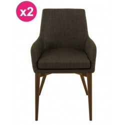 Set of 2 chairs in fabric Intense gray Faro KosyForm
