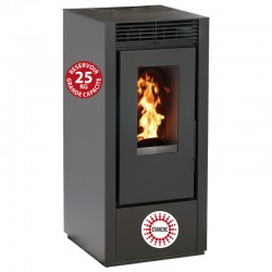 Granular stove Connected Etanche Interstoves 11Kw with Wifi Marina Noir
